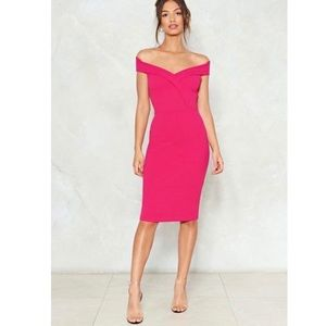 NASTY GAL Off The Shoulder Midi Dress